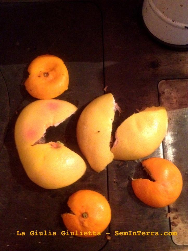 Bucce di arancia ad arrostire