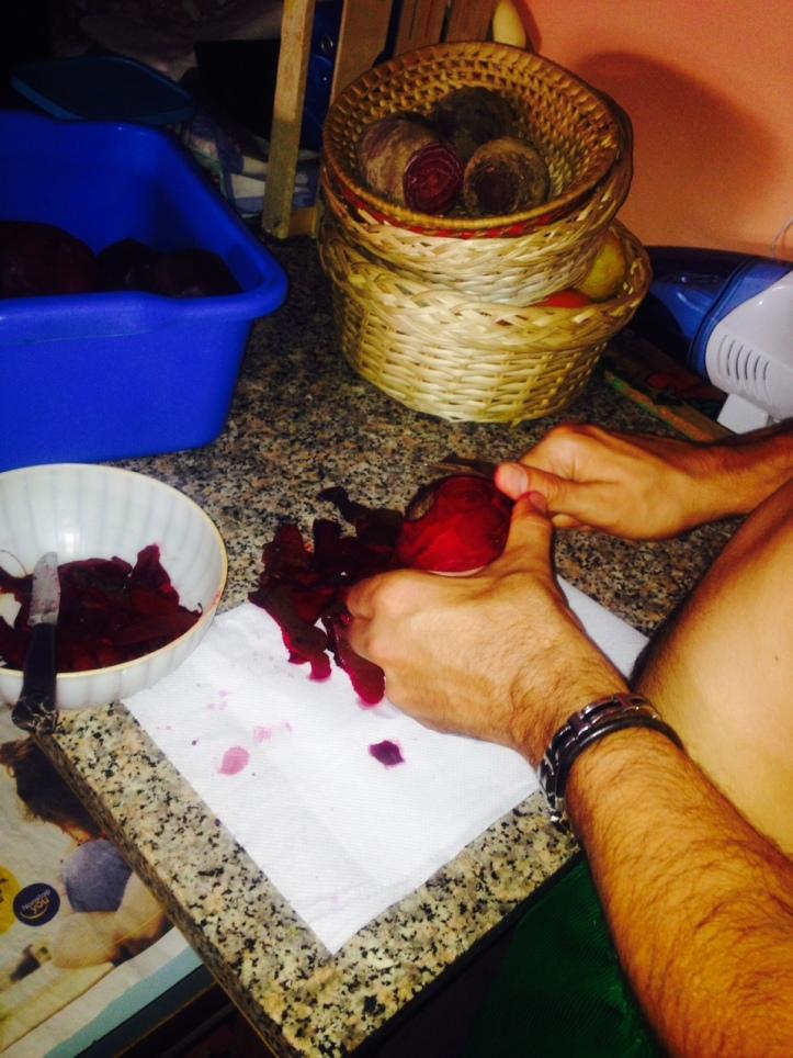 barbabietole rosse sotto olio